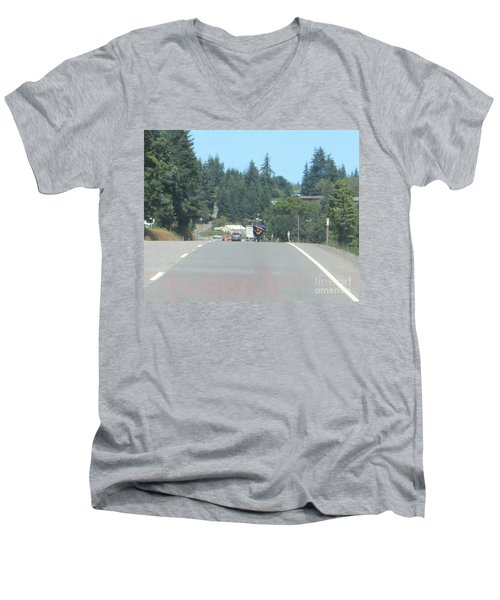 Men's V-Neck T-Shirt featuring the photograph Motorcycle Club Aka Four by Marie Neder