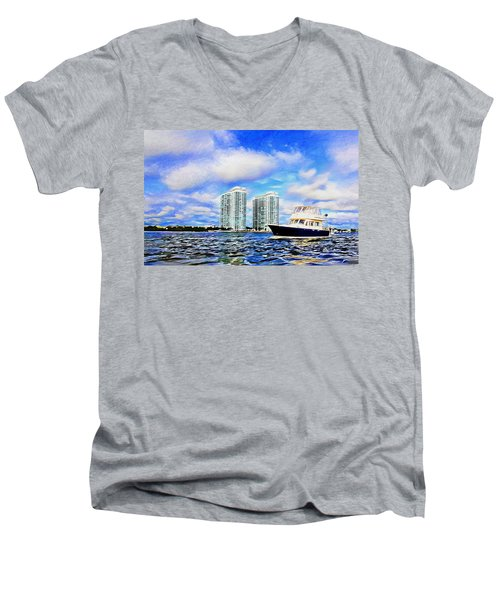 Men's V-Neck T-Shirt featuring the photograph Motoring Past The Marina Grande by Alice Gipson