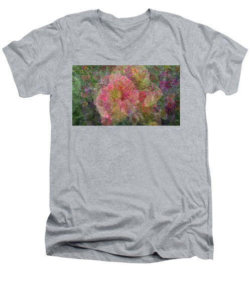 Mottled Pink Collage Pop Men's V-Neck T-Shirt