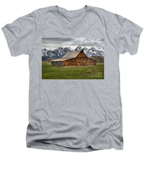 Moulton Barn Spring Storms Men's V-Neck T-Shirt by Adam Jewell