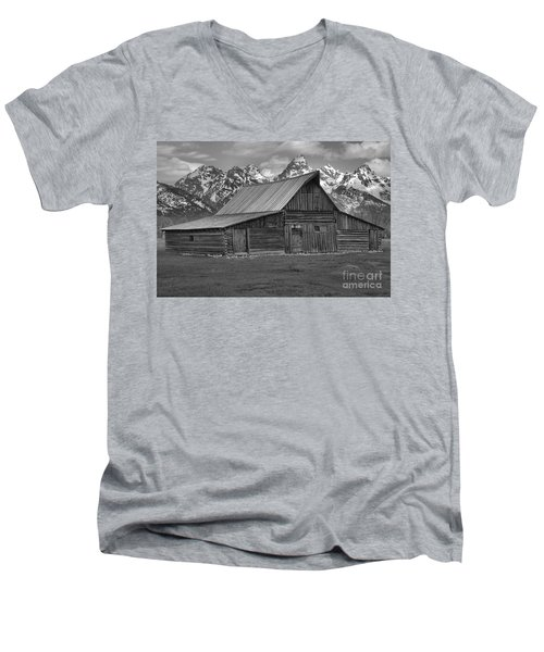 Moulton Barn Springtime Black And White Men's V-Neck T-Shirt by Adam Jewell