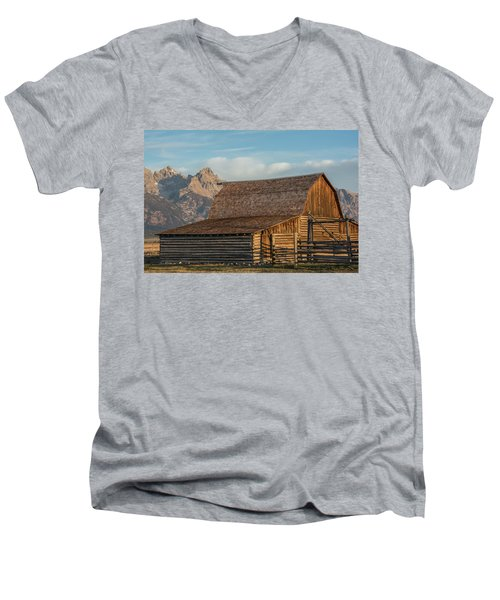 Men's V-Neck T-Shirt featuring the photograph Moulton Homestead - Barn At Morning Light by Colleen Coccia