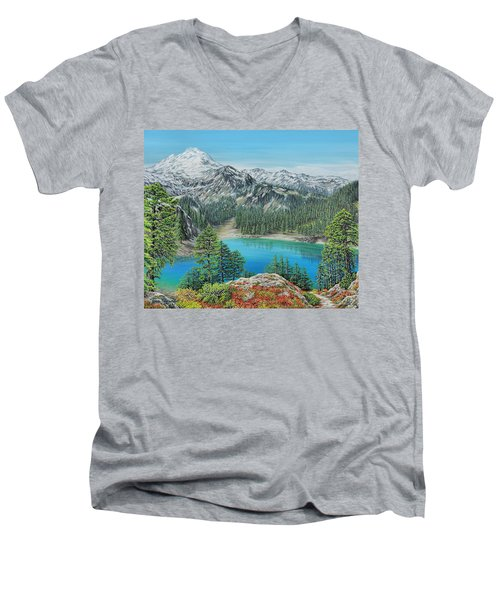 Mount Baker Wilderness Men's V-Neck T-Shirt by Jane Girardot