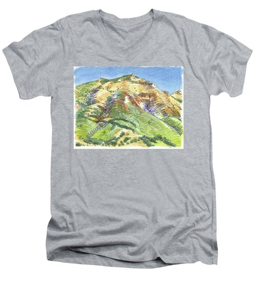 Mount Diablo From Curry Valley Ridge Men's V-Neck T-Shirt