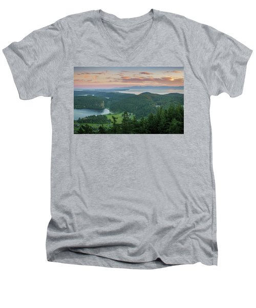 Mount Erie Viewpoint Men's V-Neck T-Shirt by Ken Stanback