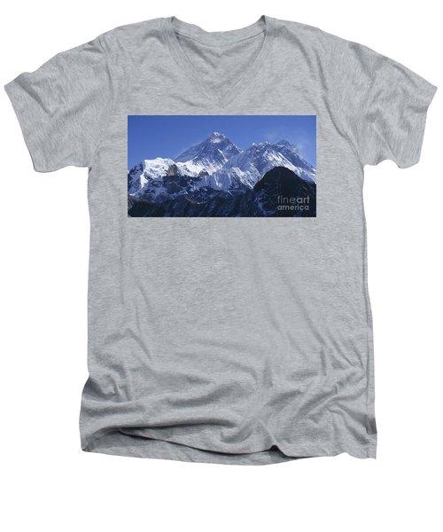 Men's V-Neck T-Shirt featuring the photograph Mount Everest Nepal by Rudi Prott