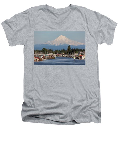 Mount Hood And Columbia River House Boats Men's V-Neck T-Shirt