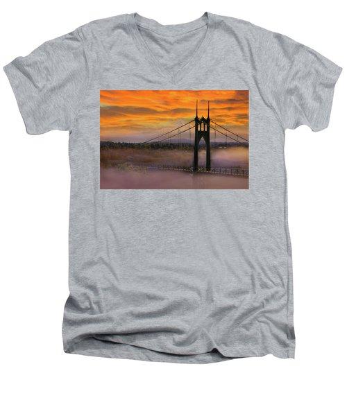 Mount Hood By St Johns Bridge During Sunrise Men's V-Neck T-Shirt