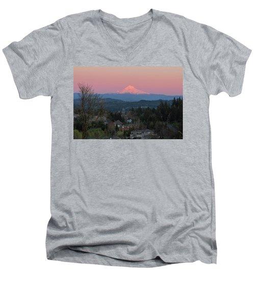 Mount Hood Over Happy Valley Oregon Men's V-Neck T-Shirt