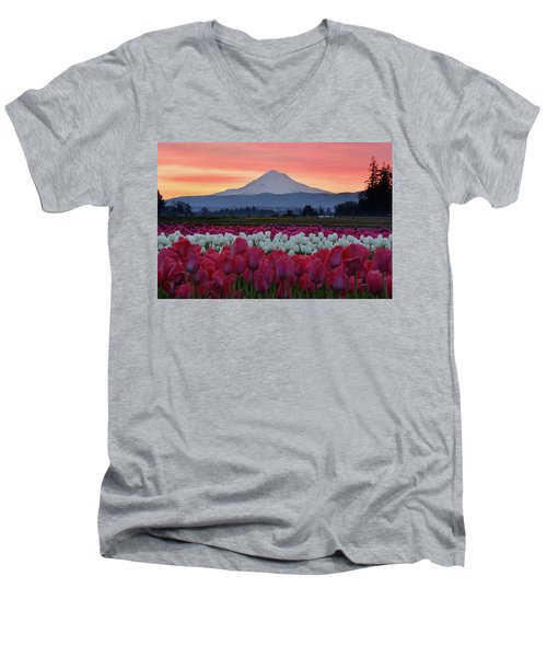Mount Hood Sunrise With Tulips Men's V-Neck T-Shirt