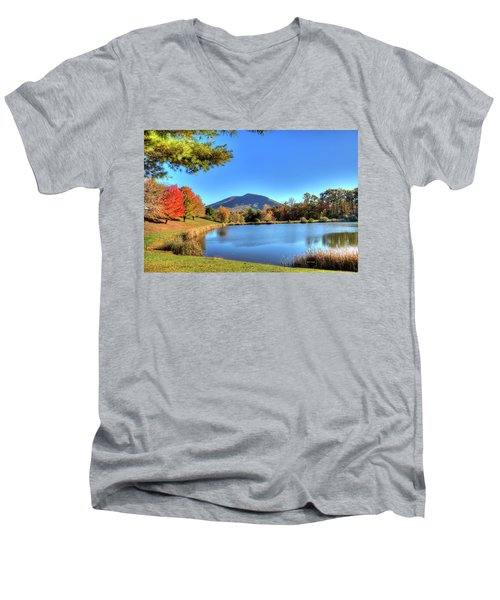 Mount Jefferson Reflection Men's V-Neck T-Shirt by Dale R Carlson