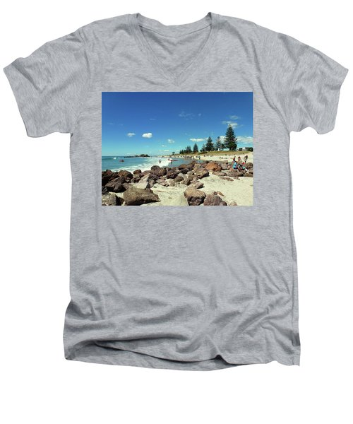 Mount Maunganui Beach 2 - Tauranga New Zealand Men's V-Neck T-Shirt by Selena Boron