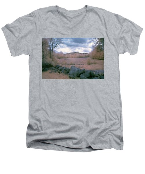 Mount Monadnock In Infrared Men's V-Neck T-Shirt