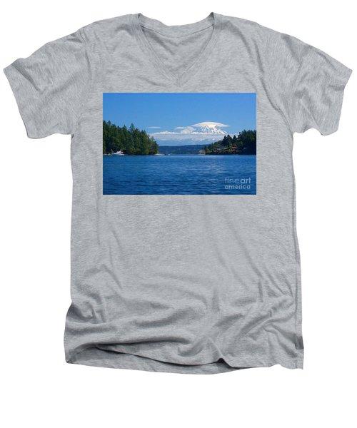 Mount Rainier Lenticular Men's V-Neck T-Shirt by Sean Griffin