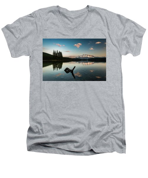 Mount Rundle And Two Jack Lake Men's V-Neck T-Shirt