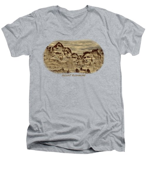 Mount Rushmore Woodburning 2 Men's V-Neck T-Shirt by John M Bailey