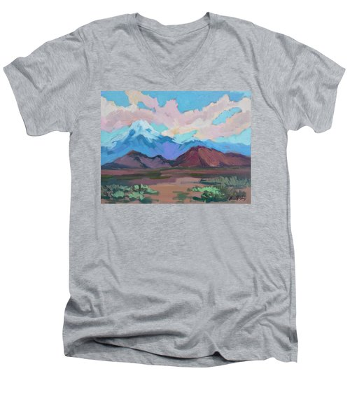 Men's V-Neck T-Shirt featuring the painting Mount San Gorgonio by Diane McClary