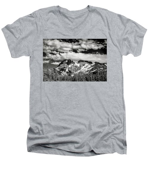 Men's V-Neck T-Shirt featuring the photograph Mount Shuksan Under Clouds by Jon Glaser