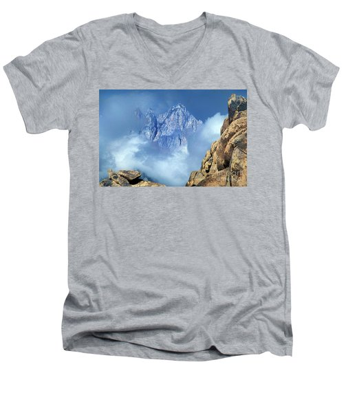 Men's V-Neck T-Shirt featuring the photograph Mount Whitney Clearing Storm Eastern Sierras California by Dave Welling