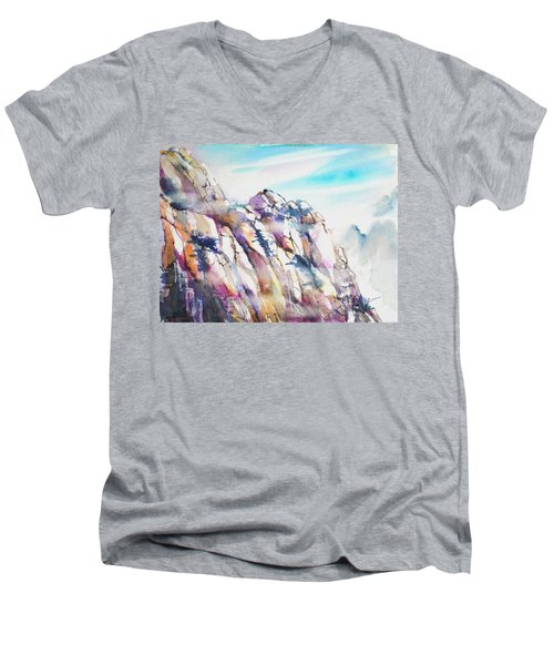Mountain Awe #1 Men's V-Neck T-Shirt by Betty M M Wong