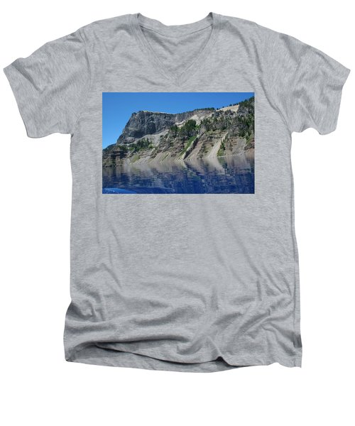 Men's V-Neck T-Shirt featuring the photograph Mountain Blue by Laddie Halupa