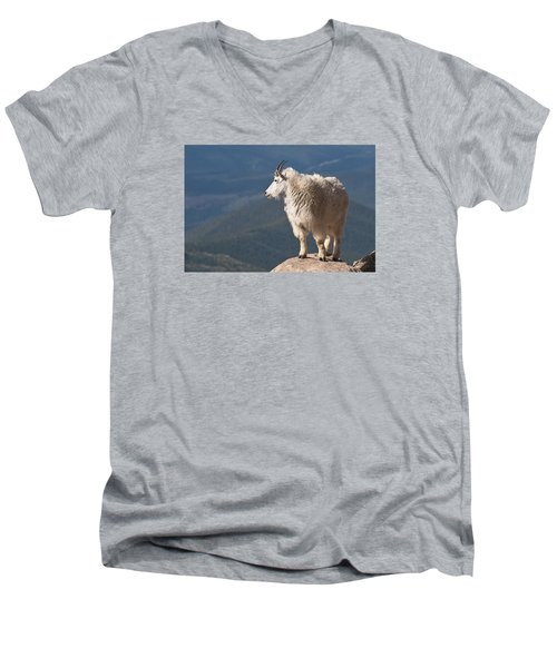 Men's V-Neck T-Shirt featuring the photograph Mountain Goat by Gary Lengyel