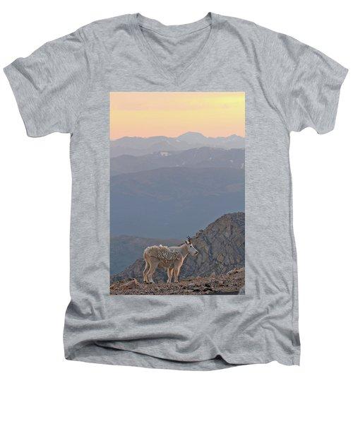 Men's V-Neck T-Shirt featuring the photograph Mountain Goat Sunset by Scott Mahon