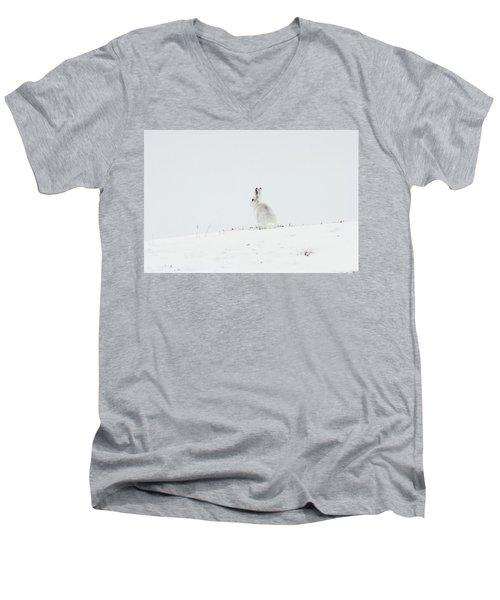 Mountain Hare Sat In Snow Men's V-Neck T-Shirt