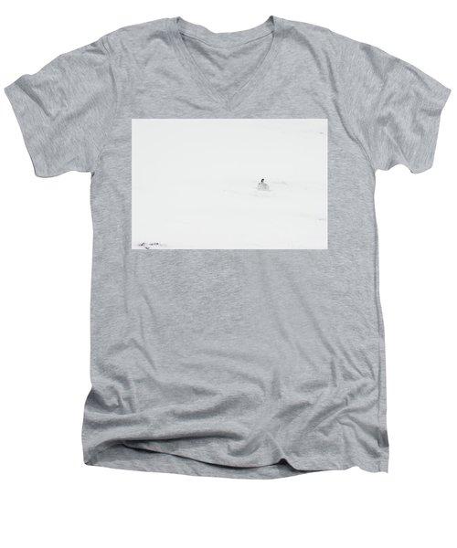 Mountain Hare Small In Frame Right Men's V-Neck T-Shirt