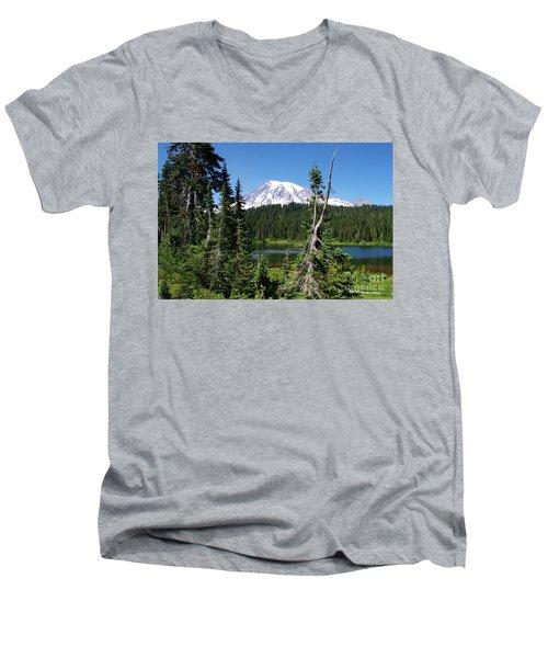 Mountain Lake And Mount Rainier Men's V-Neck T-Shirt by Ansel Price