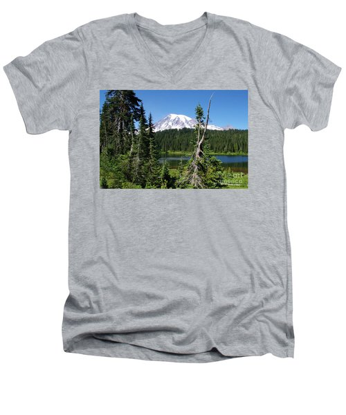Mountain Lake And Mount Rainier Men's V-Neck T-Shirt