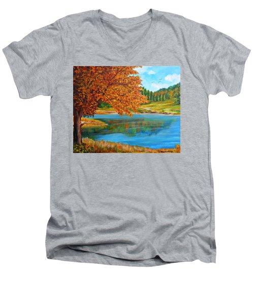 Mountain Lake In Greece Men's V-Neck T-Shirt