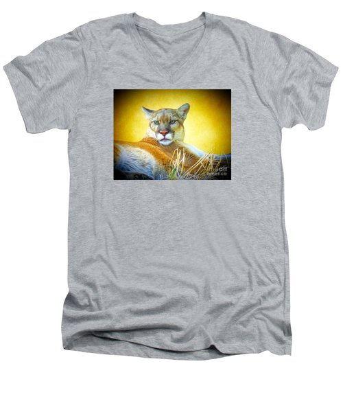 Mountain Lion Two Men's V-Neck T-Shirt by Suzanne Handel