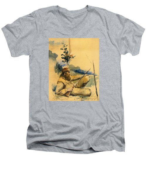 Men's V-Neck T-Shirt featuring the drawing Mountain Man by Charles Schreyvogel