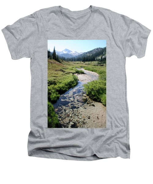 Mountain Meadow And Stream Men's V-Neck T-Shirt