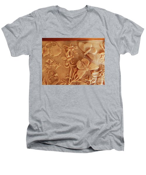 Mountain Meadow Original Clay Relief - Checkerspot Butterfly Detail Men's V-Neck T-Shirt by Dawn Senior-Trask