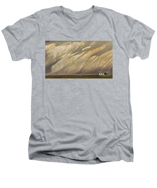 Men's V-Neck T-Shirt featuring the photograph Mountain Patterns, Padum, 2006 by Hitendra SINKAR