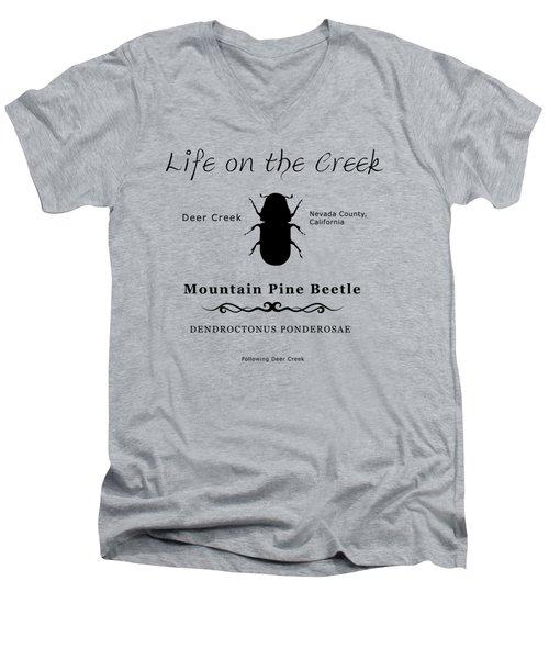 Mountain Pine Beetle Black On White Men's V-Neck T-Shirt