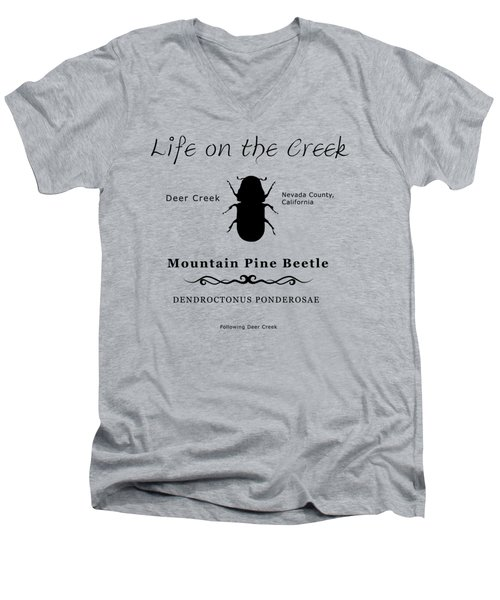 Mountain Pine Beetle Black On White Men's V-Neck T-Shirt