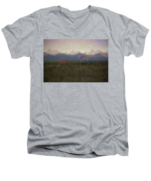 Mountain Pronghorns Men's V-Neck T-Shirt