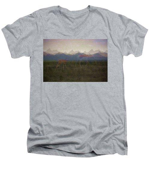 Mountain Pronghorns Men's V-Neck T-Shirt