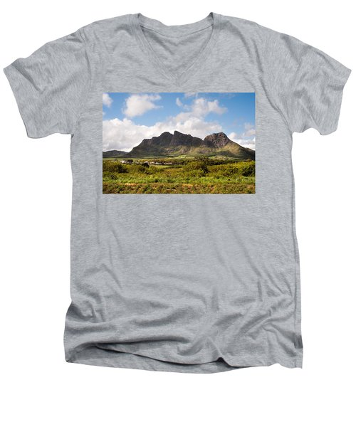 Men's V-Neck T-Shirt featuring the photograph Mountain Range In Mauritius by Jenny Rainbow