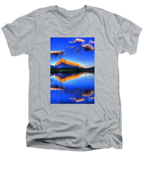 Men's V-Neck T-Shirt featuring the photograph Mountain Reflection by Sean McDunn
