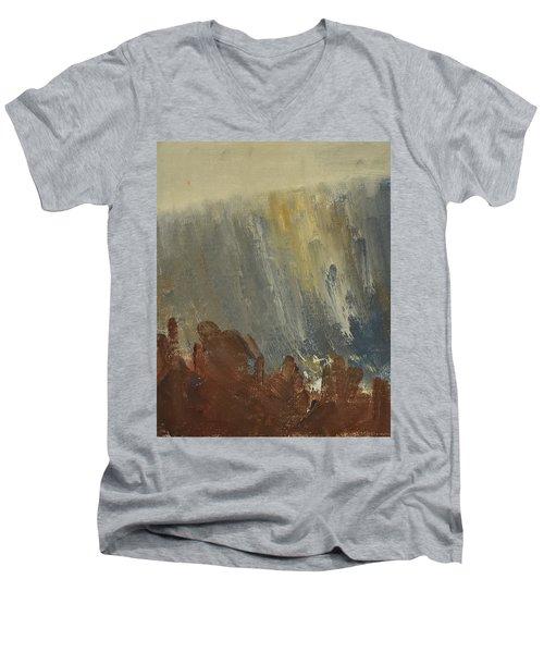 Mountain Side In Autumn Mist. Up To 90x120 Cm Men's V-Neck T-Shirt