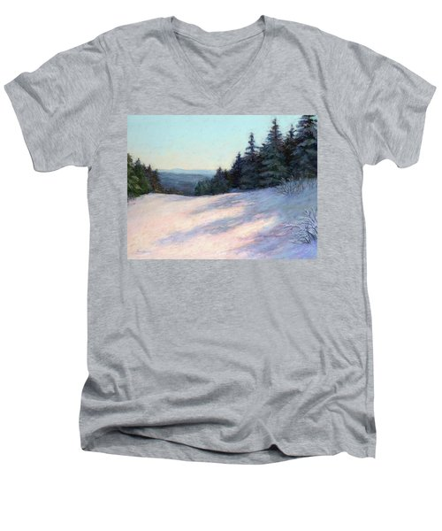 Men's V-Neck T-Shirt featuring the painting Mountain Stillness by Vikki Bouffard