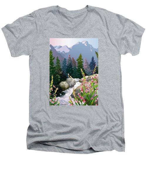 Mountain Stream Men's V-Neck T-Shirt by Anne Gifford