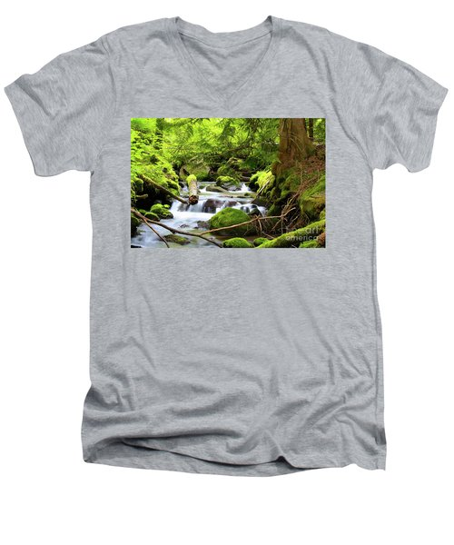 Mountain Stream In The Pacific Northwest Men's V-Neck T-Shirt