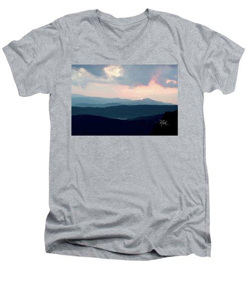Men's V-Neck T-Shirt featuring the photograph Blue Ridge Mountain Sunset by Meta Gatschenberger