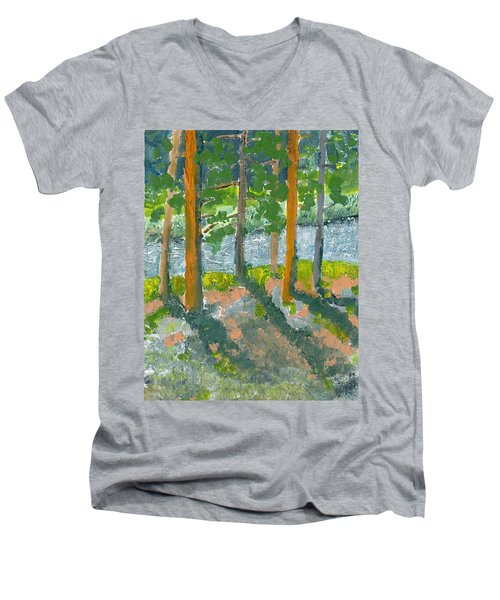 Mountain Valley Men's V-Neck T-Shirt by Rodger Ellingson