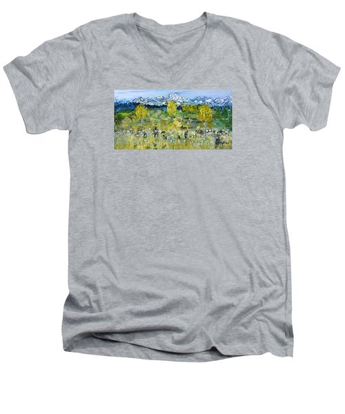Men's V-Neck T-Shirt featuring the painting Mountain View by Evelina Popilian